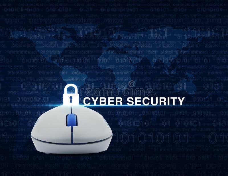 La souris sans fil d'ordinateur avec la sécurité principale d'icône et de cyber textotent l'OV photo stock