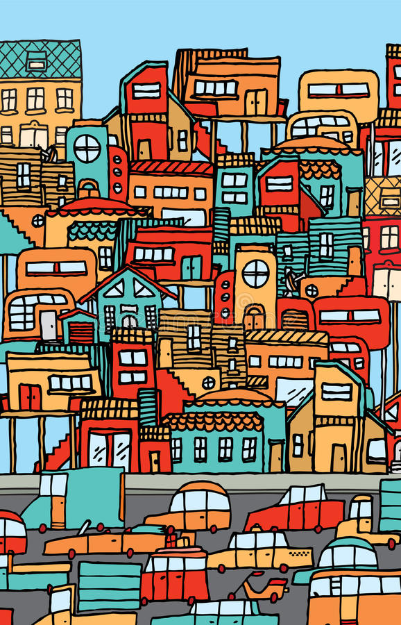 La sovrappopolazione/ha ammucchiato la città in pieno delle automobili e delle case. illustrazione di stock