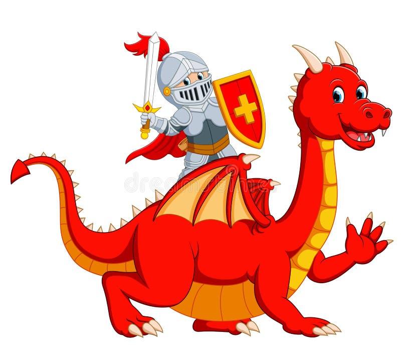 la spada della tenuta del cavaliere sul grande drago rosso illustrazione di stock