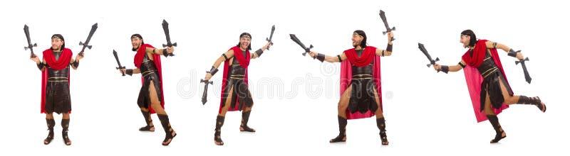 Download La Spada Della Tenuta Del Gladiatore Isolata Su Bianco Immagine Stock - Immagine di pose, atleta: 117977881