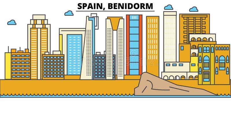 La Spagna, Benidorm Architettura dell'orizzonte della città editable illustrazione vettoriale