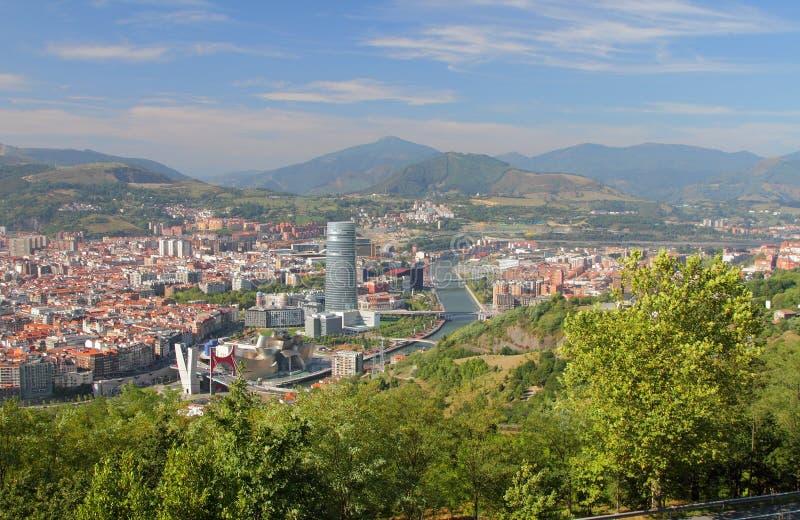 La Spagna, Bilbao, vista della città da sopra immagini stock libere da diritti