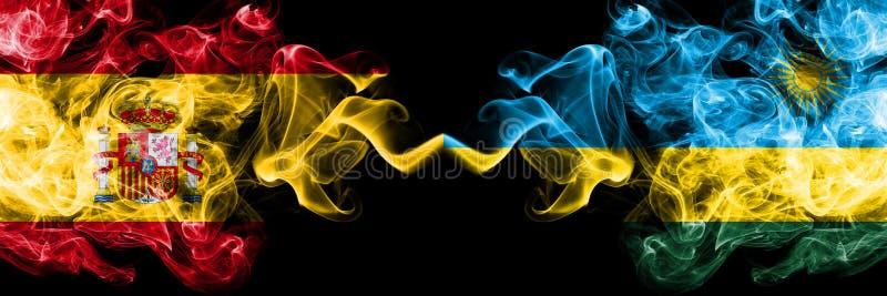 La Spagna contro il Ruanda, bandiere mistiche fumose ruandesi disposte parallelamente Spesso colorato serico fuma la bandiera di  immagini stock