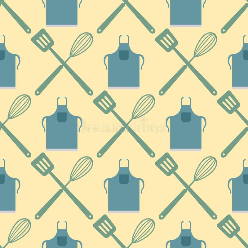 La spatule battent le modèle sans couture faisant cuire la conception de typographie de nourriture de boutique de boulangerie d'i illustration libre de droits