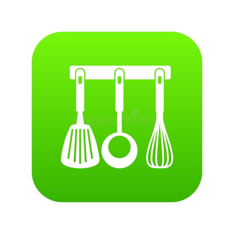 La spatule, poche et battent, cuisine usine le vert numérique d'icône illustration de vecteur
