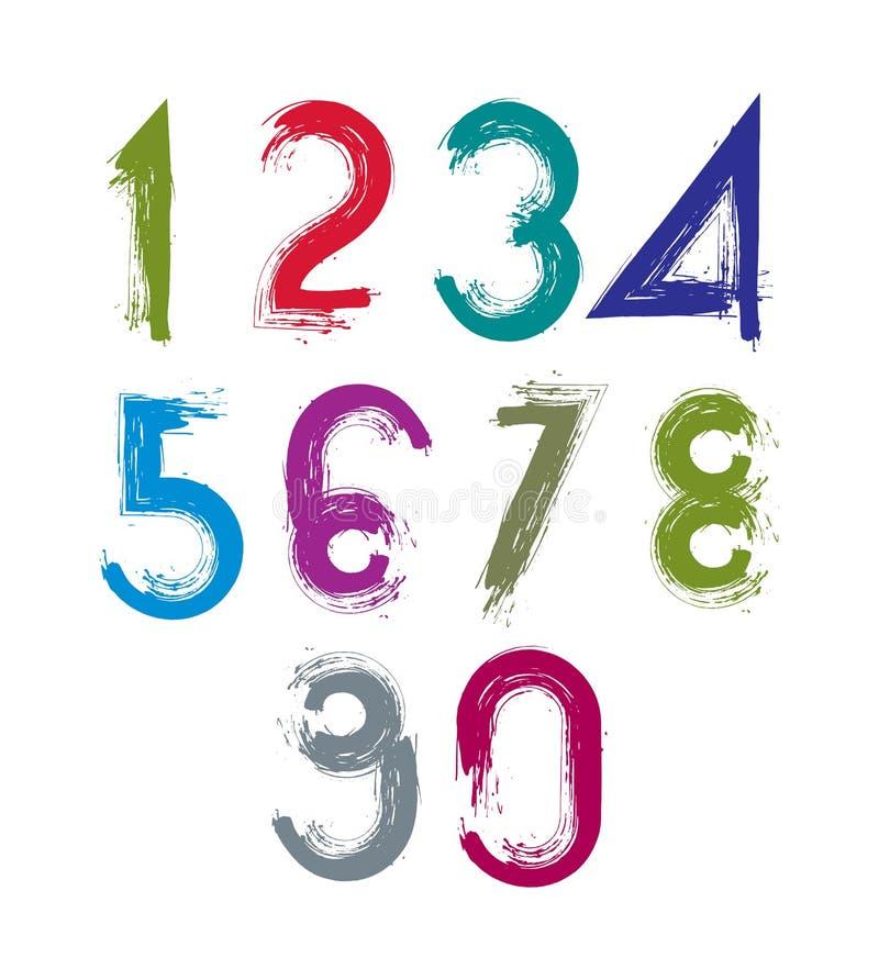 La spazzola calligrafica numera, numeratio luminoso dipinto a mano di vettore illustrazione vettoriale