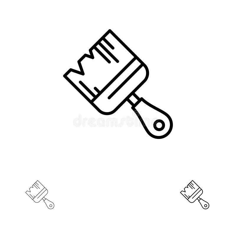 La spazzola, costruzione, costruzione, dipinge la linea nera audace e sottile insieme dell'icona illustrazione di stock