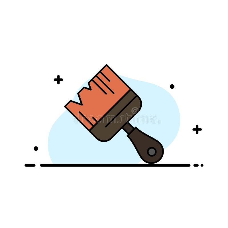La spazzola, costruzione, costruzione, linea piana di affari della pittura ha riempito il modello dell'insegna di vettore dell'ic royalty illustrazione gratis