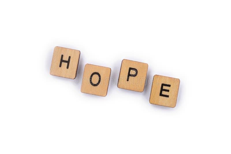 La speranza di parola fotografia stock