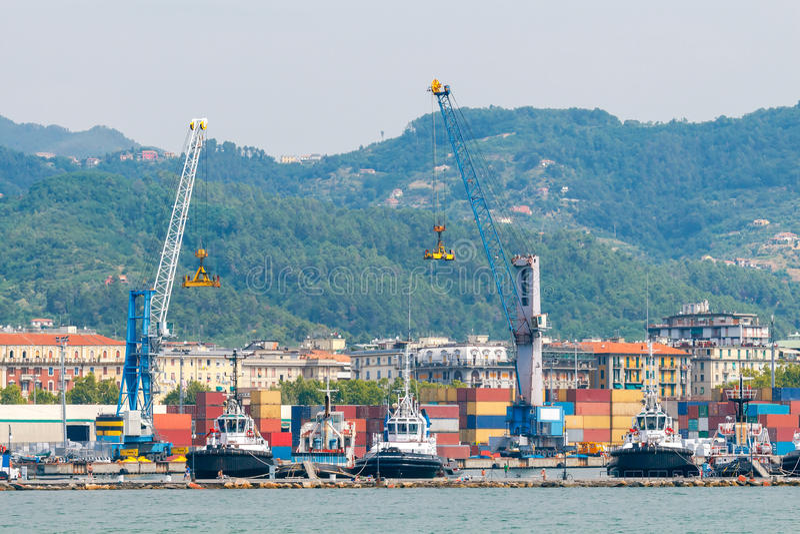 La Spezia. Cargo port. View of cargo port and container terminal in La Spezia. Italy. Liguria stock photos
