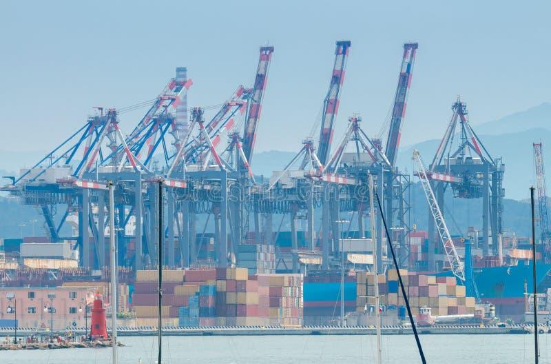 La Spezia. Cargo port. View of cargo port and container terminal in La Spezia. Italy. Liguria stock photo