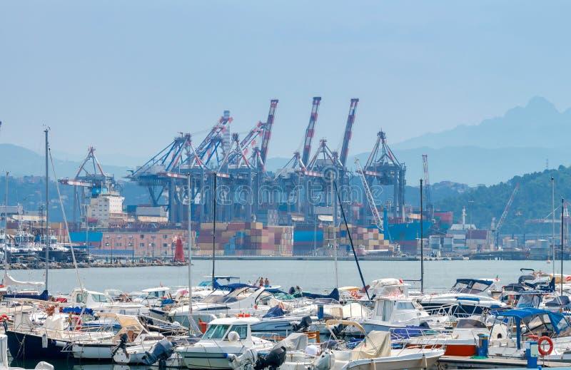 La Spezia. Cargo port. View of cargo port and container terminal in La Spezia. Italy. Liguria royalty free stock photos