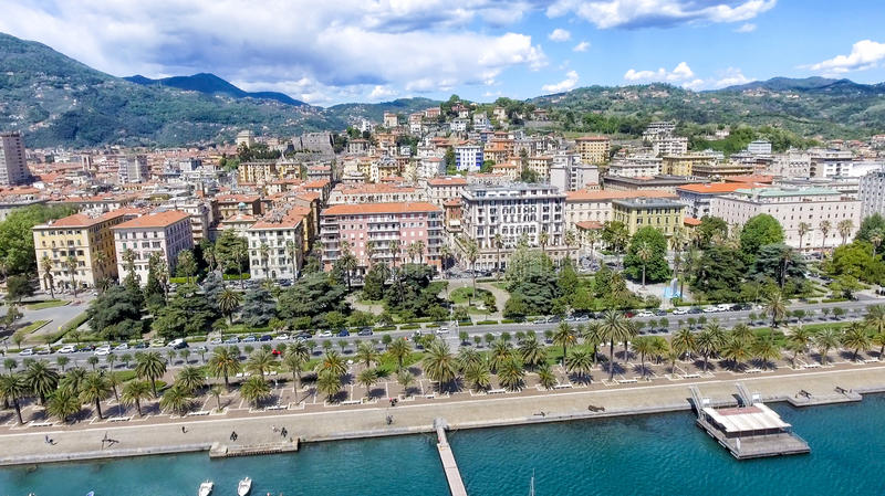 La Spezia city skyline, aerial view on a beautiful day royalty free stock photography