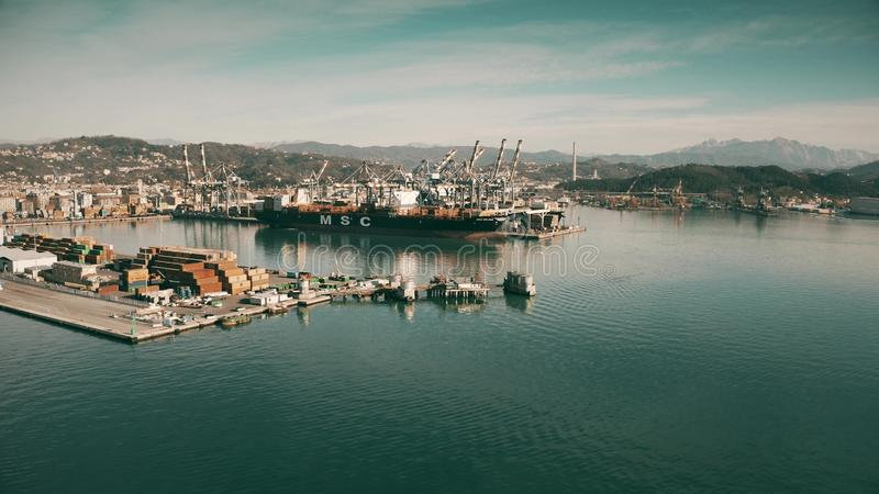 LA SPEZIA, ITALY - JANUARY 3, 2019. Aerial shot of the MSC Silvia container ship docked in the port stock images