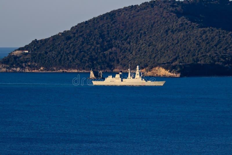 La Spezia, Liguri?, Itali? 03/27/2019 Italiaans militair schip D554, Caio Duilio royalty-vrije stock afbeelding