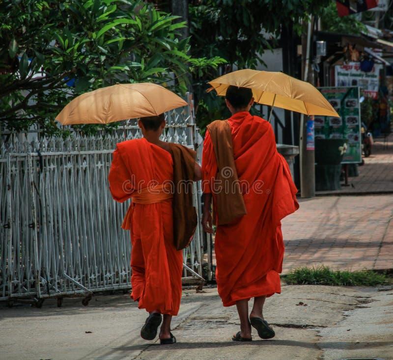 La spezia luminosa tipica ha colorato l'abito buddista, Luang Prabang, la provincia di Luang Prabang, Laos, fotografia stock