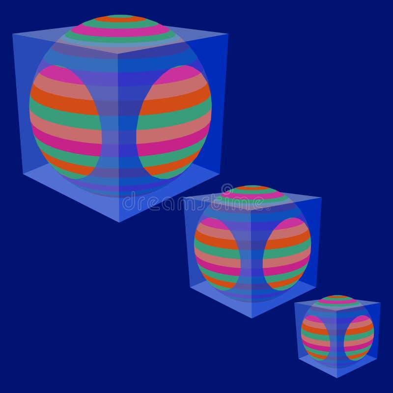 La sphère dans un cube transparent illustration libre de droits
