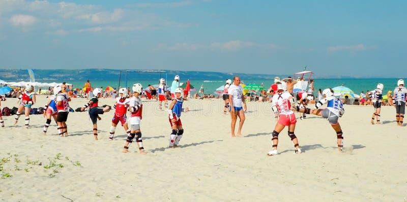 La spiaggia classifica il taekwondo immagine stock