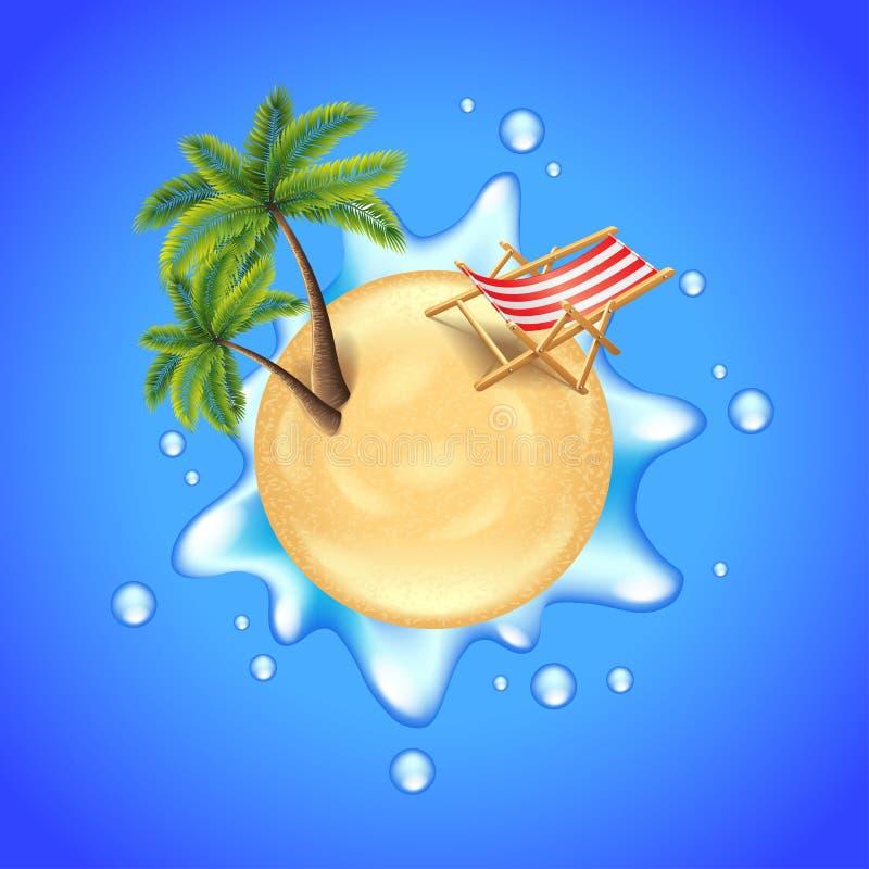 La spiaggia con le palme, la sedia e l'acqua spruzzano il vettore