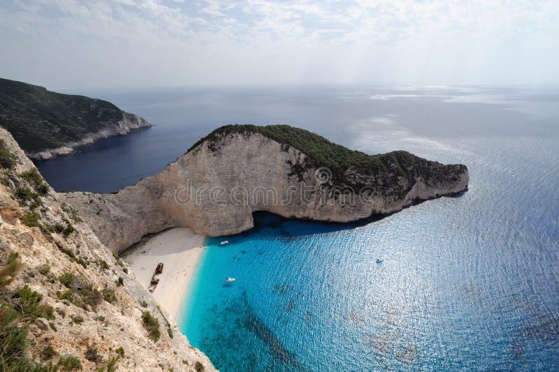 La spiaggia del naufragio, isola di Zacinto, Grecia fotografia stock libera da diritti