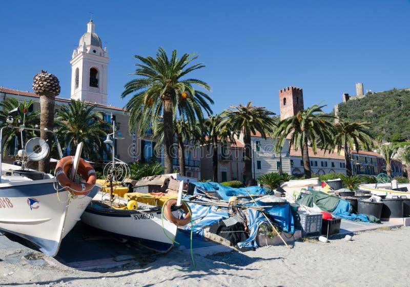 La spiaggia del pescatore, Noli, Liguria immagini stock libere da diritti