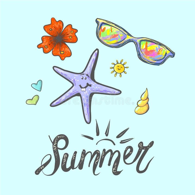 La spiaggia dell'estate con i vetri di sole del pesce della stella dell'iscrizione fiorisce gli elementi del sole dei cuori della royalty illustrazione gratis