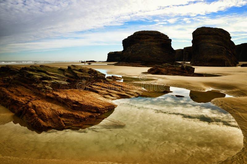 La spiaggia delle cattedrali è una di spiagge più belle in Spagna, situato in Galizia nel Nord della Spagna immagine stock libera da diritti