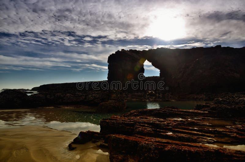 La spiaggia delle cattedrali ? una di spiagge pi? belle in Spagna, situato in Galizia nel Nord della Spagna immagine stock