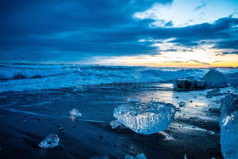 La spiaggia di Diamond in Islanda fotografia stock