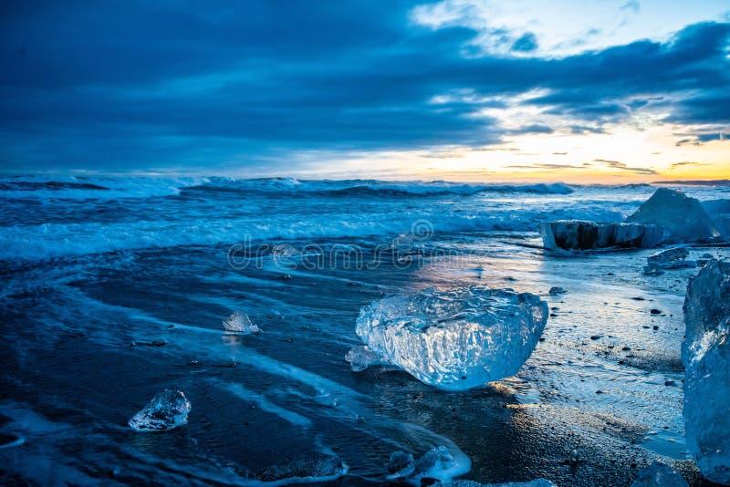 La spiaggia di Diamond in Islanda immagine stock libera da diritti