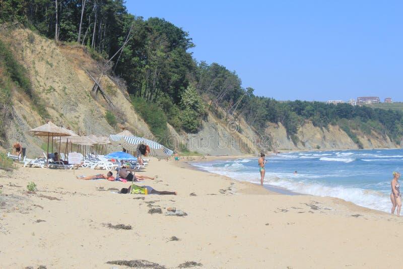 La spiaggia di Mar Nero a Obzor, Bulgaria fotografie stock