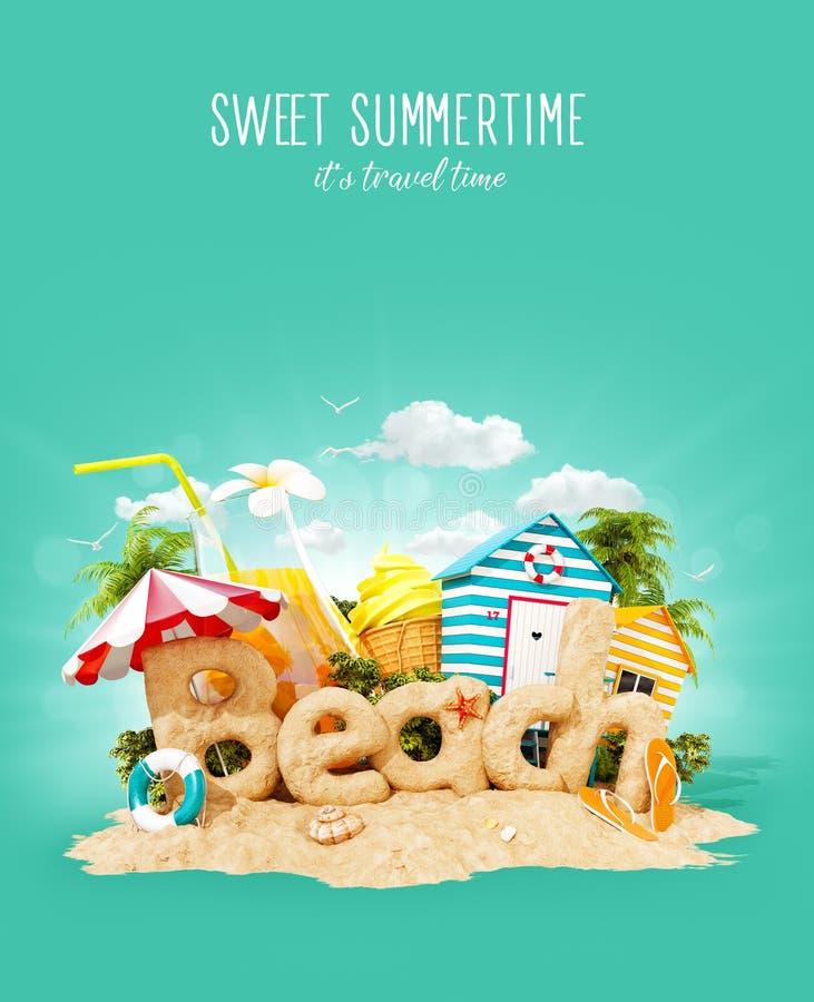 La spiaggia di parola fatta della sabbia sull'isola tropicale Illustrazione insolita 3d delle vacanze estive Concetto di vacanza  illustrazione vettoriale