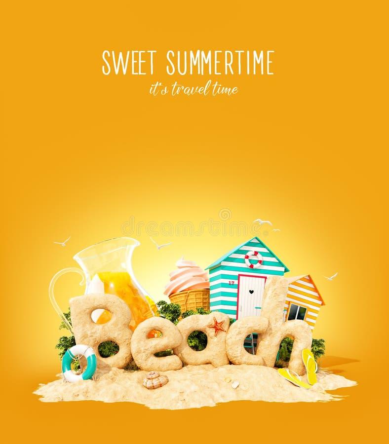 La spiaggia di parola fatta della sabbia sull'isola tropicale Illustrazione insolita 3d delle vacanze estive Concetto di vacanza  illustrazione di stock
