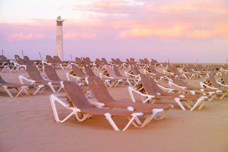 La spiaggia Playa de Morro Jable su Fuerteventura, Spagna fotografie stock