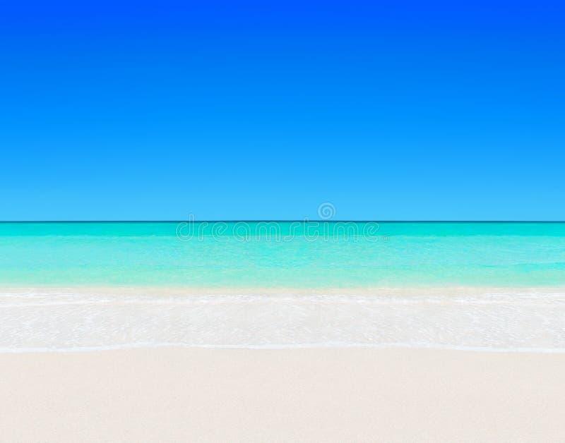 La spiaggia sabbiosa bianca tropicale ed il chiaro oceano innaffiano lo sfondo naturale fotografia stock