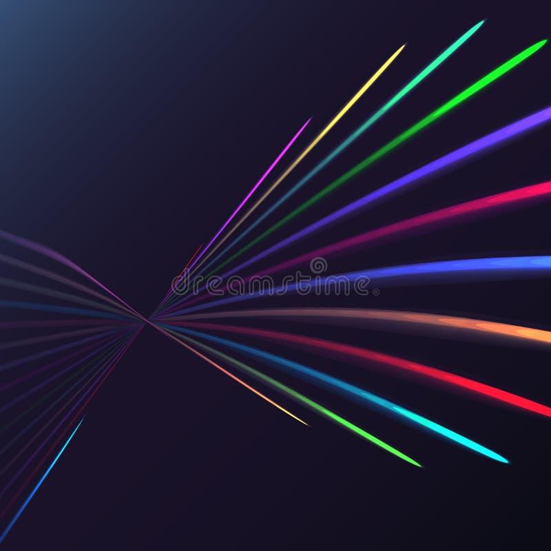 La spirale électrique d'énergie magique abstraite multicolore a tordu les lignes parallèles ardentes cosmiques, rayures brillant  illustration libre de droits