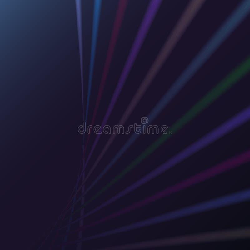 La spirale électrique d'énergie magique abstraite multicolore a tordu les lignes parallèles ardentes cosmiques, rayures brillant  illustration stock