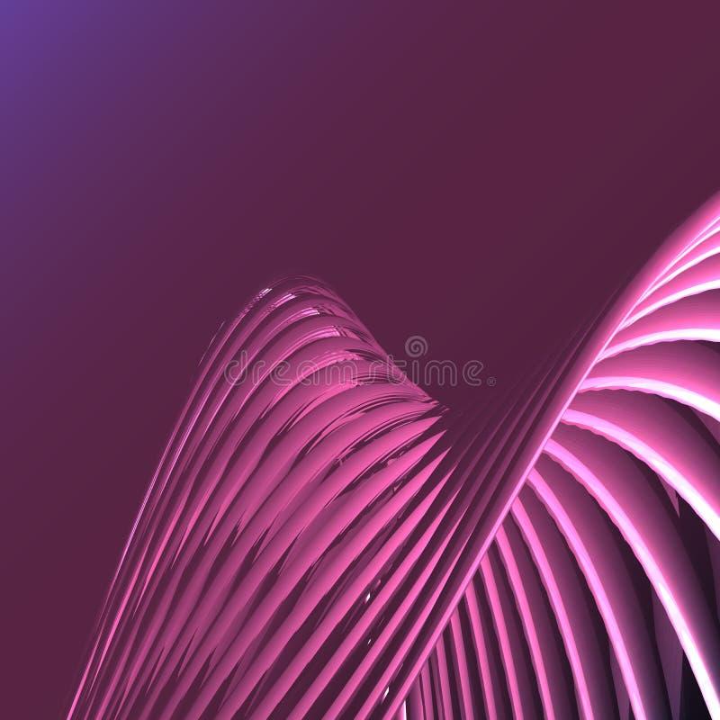 La spirale électrique de belle rose énergie magique pourpre d'abrégé sur a tordu les trellis cosmiques du feu des lignes, rayures illustration de vecteur