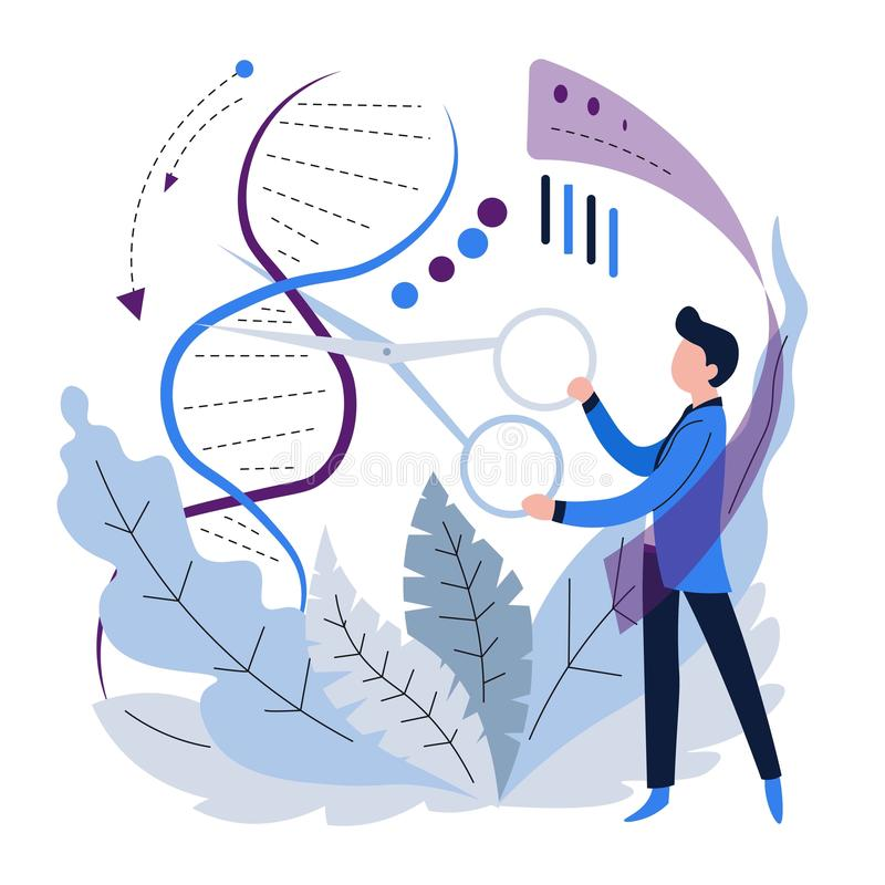 La spirale del DNA della genetica o di microbiologia sperimenta codice genetico royalty illustrazione gratis