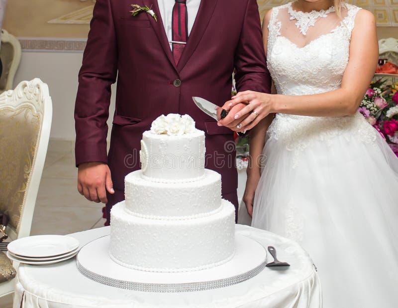 La sposa di bellezza e lo sposo bello stanno tagliando una torta nunziale immagine stock