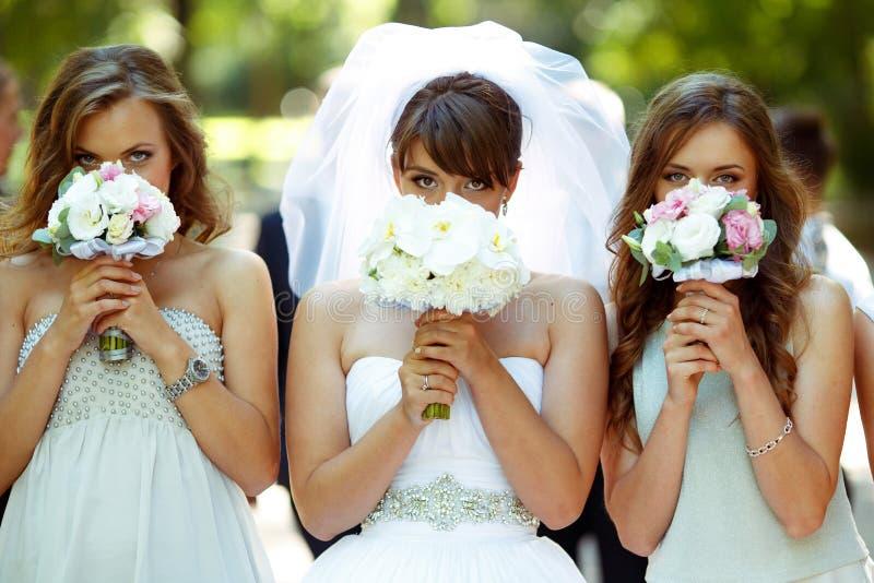 La sposa e le damigelle d'onore nascondono i loro fronti dietro poco bou di nozze immagine stock