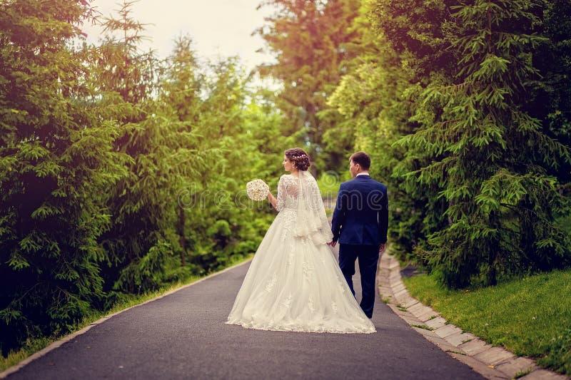La sposa e lo sposo che si allontanano di estate parcheggiano all'aperto fotografie stock libere da diritti