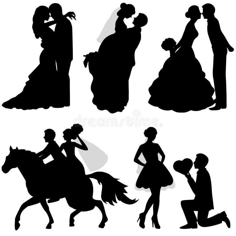 La sposa e lo sposo insieme royalty illustrazione gratis
