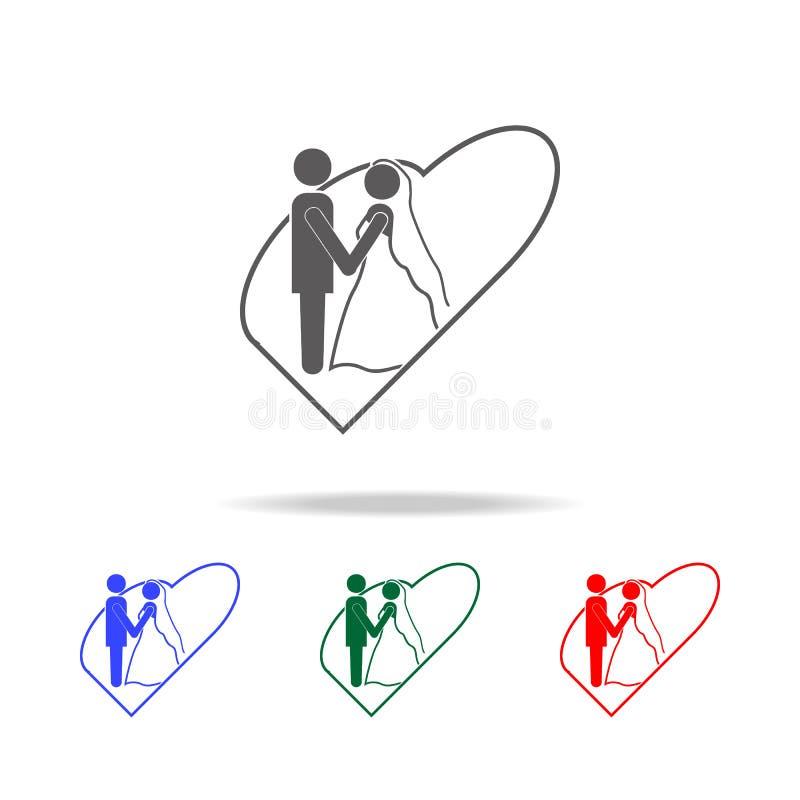 la sposa e lo sposo nelle icone del cuore Elementi di nozze nelle multi icone colorate Icona premio di progettazione grafica di q royalty illustrazione gratis
