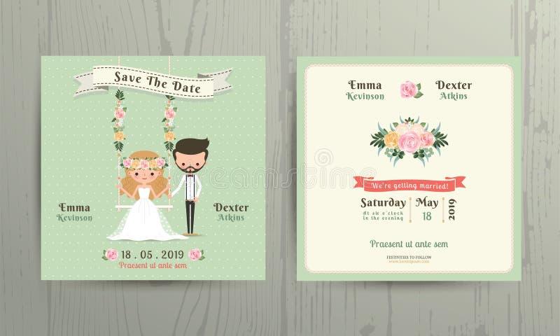 La sposa e lo sposo rustici del fumetto di nozze coppia la carta dell'invito illustrazione di stock