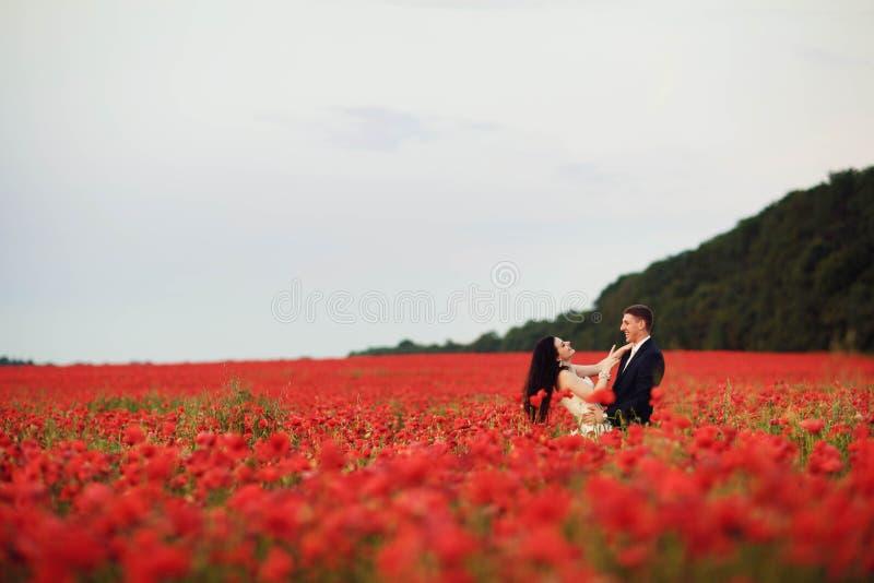 La sposa e lo sposo in un papavero sistemano immagine stock libera da diritti