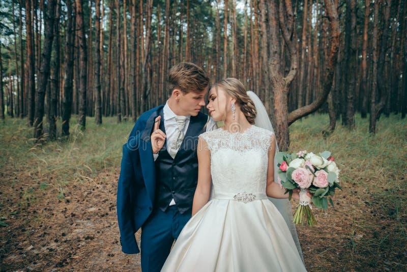 La sposa e lo sposo in vestiti da sposa su sfondo naturale Giorno delle nozze Le persone appena sposate stanno camminando attrave fotografia stock