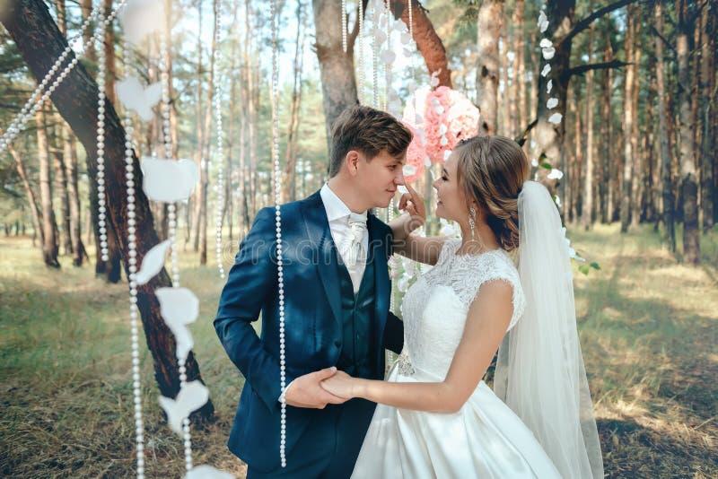 La sposa e lo sposo in vestiti da sposa su sfondo naturale Noi immagine stock libera da diritti