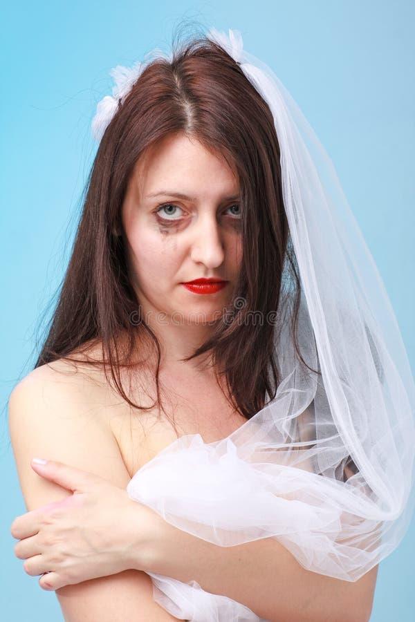 La sposa triste con funzionare compone immagini stock libere da diritti