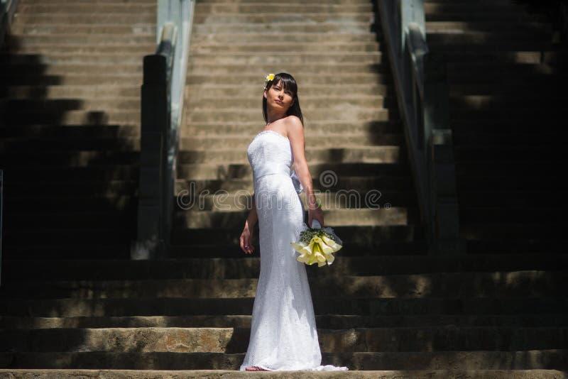 La sposa in un vestito da sposa elegante sta sui precedenti di grande scala immagini stock libere da diritti